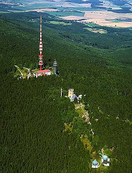 The aerial view of the Kleť mountain (you can see the TV tower, lookout tower and the 